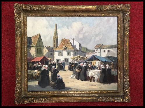 Henri Barnoin - Le marché de Pont-Aven