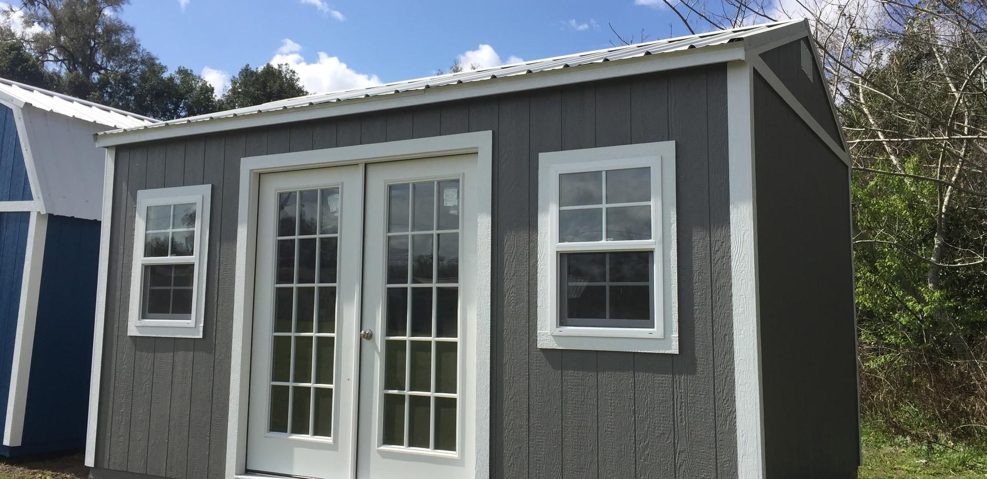 10x16 Side Garden Shed Dark Grey White.J