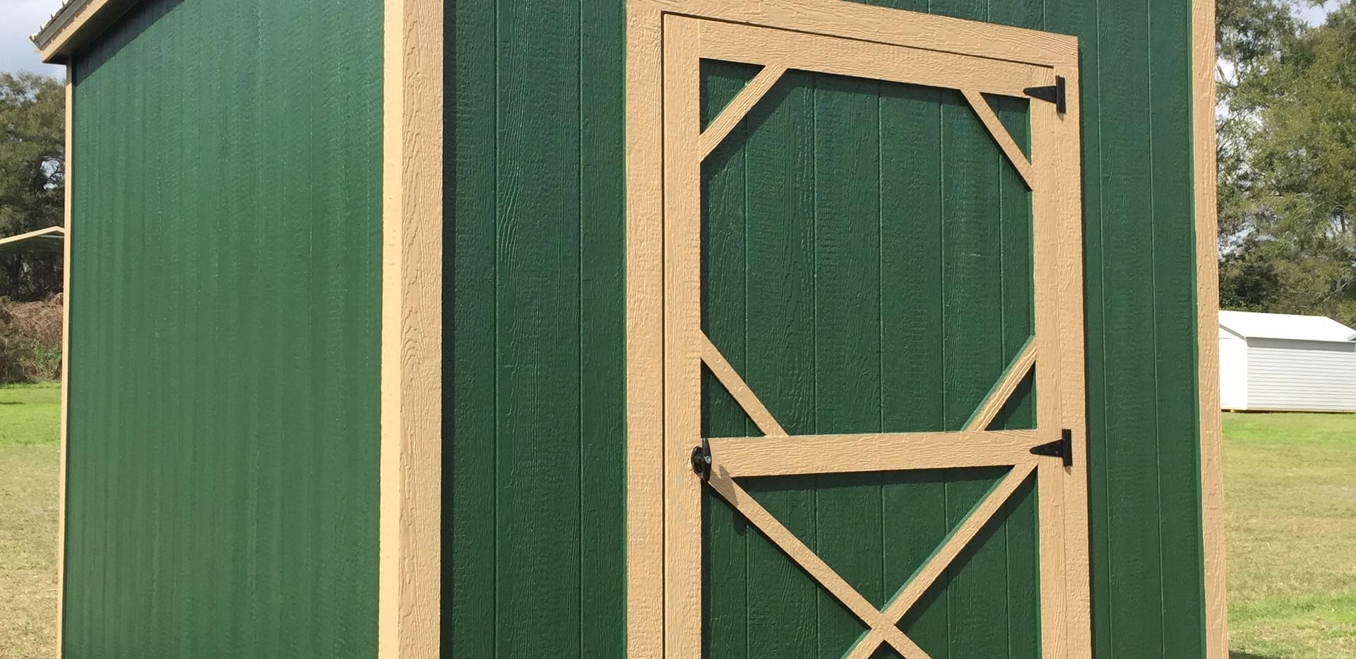 8x12 Garden Shed Green Tan