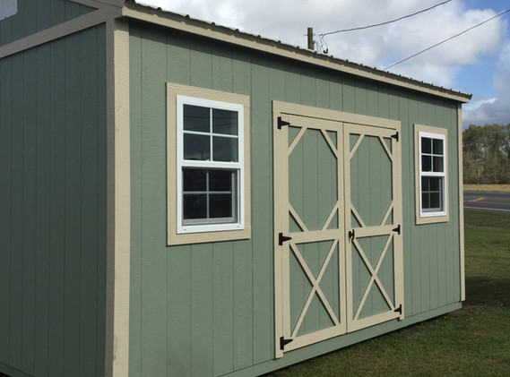 10x16 Side Garden Shed Olive Clay