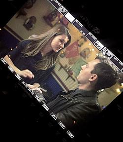 "On set of ""Hostess"""