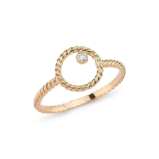 Open Circle Single Diamond Ring