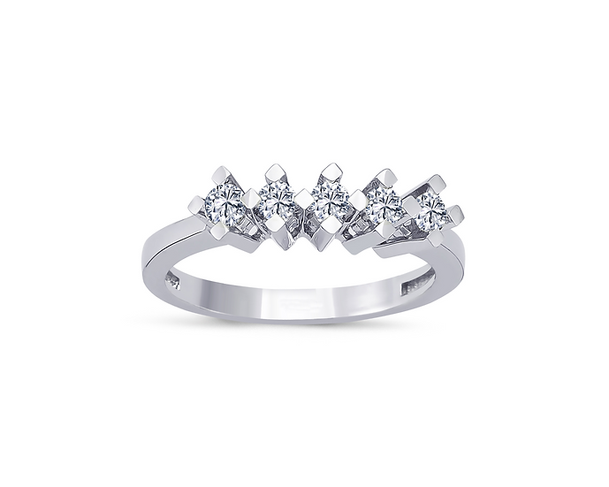 Shared Prong Five Stone Engagement Ring