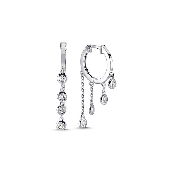 Diamond Chain Drop Hoop Earrings