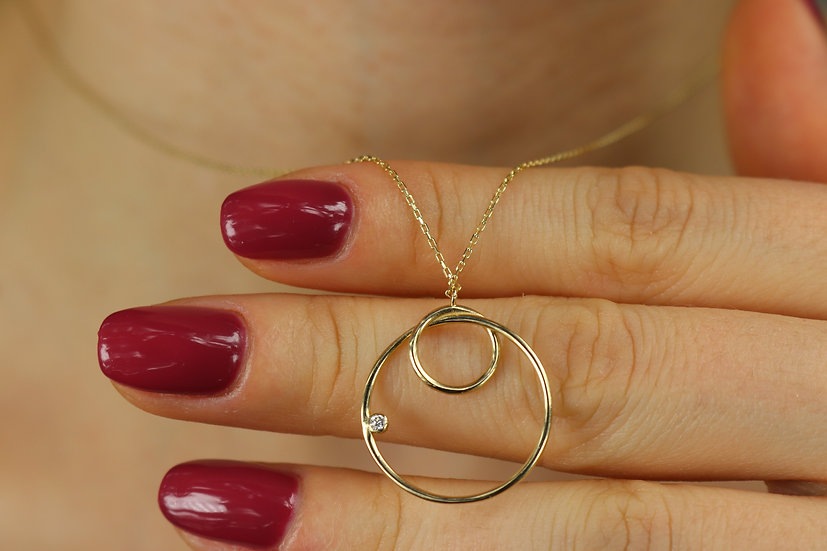 Gold Open Circle Pendant Necklace