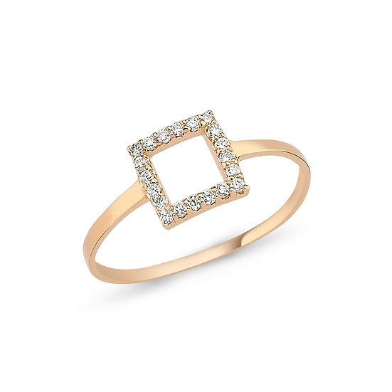 Open Square Diamond Ring