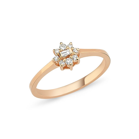 Gold Flower Ring with Baguette & Round Diamonds
