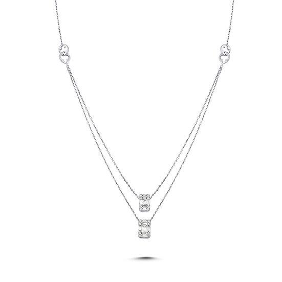 Baguette Diamond Double Layer Necklace