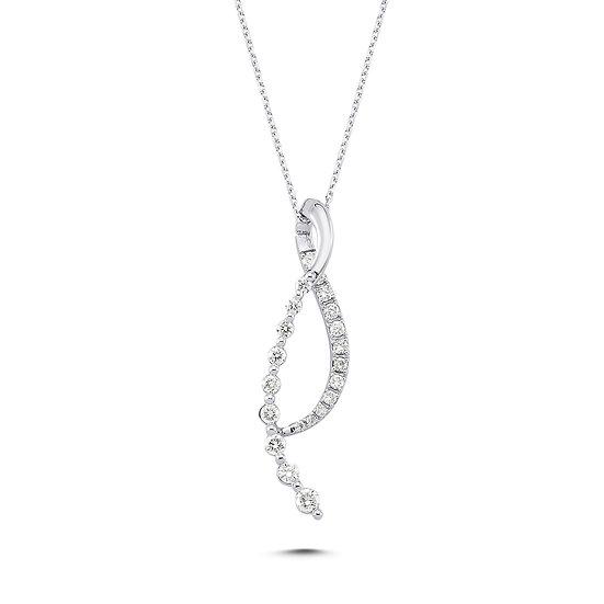 Unique Design Curve Diamond Cluster Necklace
