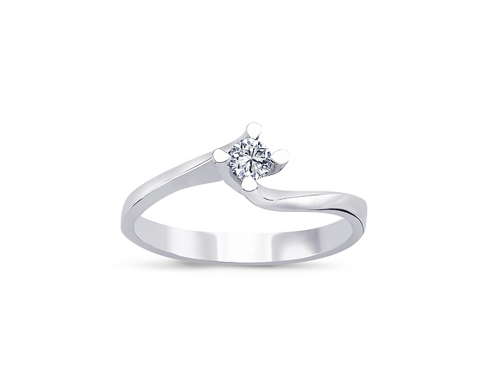 Twisted Prong Solitaire Engagement Ring