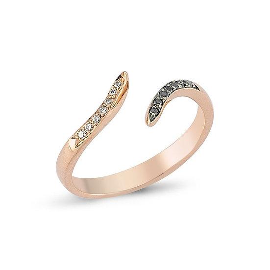 Diamond Snake Ring in Gold