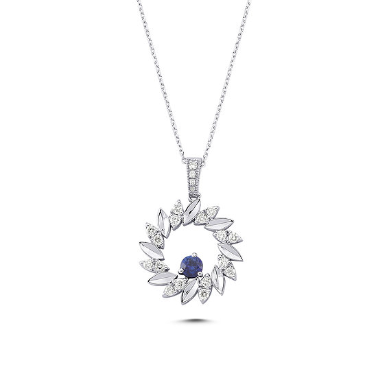 Sapphire & Diamond Open Circle Necklace