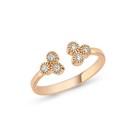 Open Adjustable Trio Diamond Ring