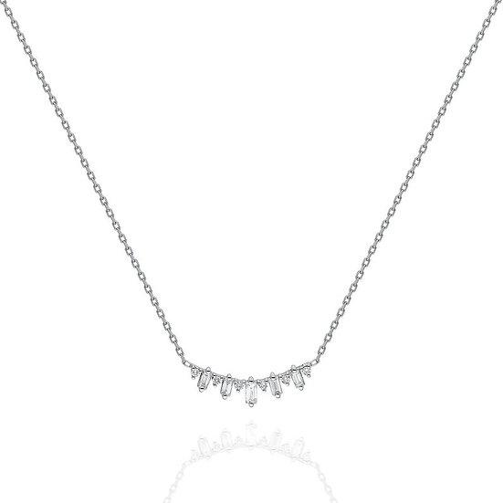 Bagutte & Round Diamond Necklace