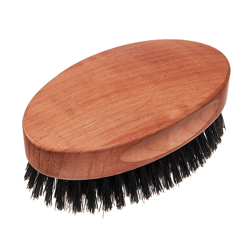 Kopfkardätsche aus Birnbaumholz, geölt, mit reinen griffigen Wildschweinborsten