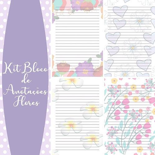 Kit Bloco Anotações Flores