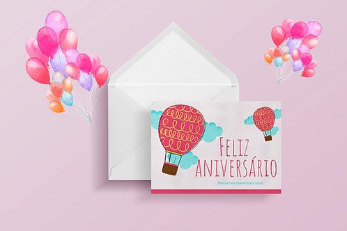 Cartão de Aniversário Balões