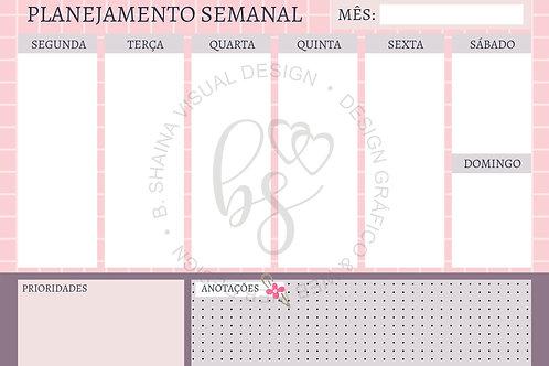 Miolo Planner Rosa Quadriculado A4