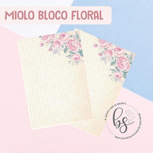 Miolo Bloco Floral Creme Pontilhado