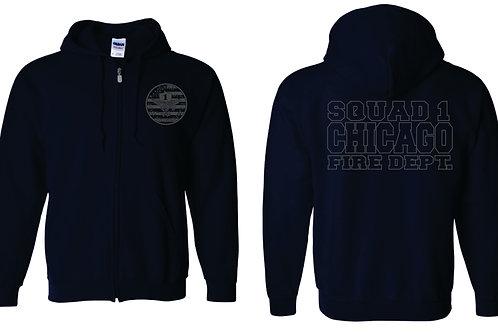 Sq 1 Gray Tone Zip Hoodie