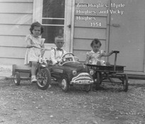 004 Ann, Myrle, Vickie on bike, car, and