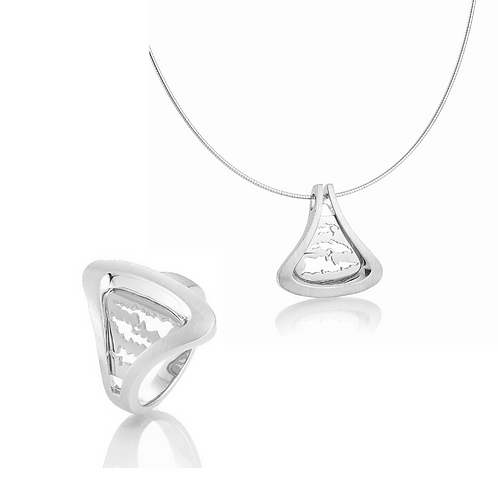 Silver Island Jewelry Necklace & Ring Set