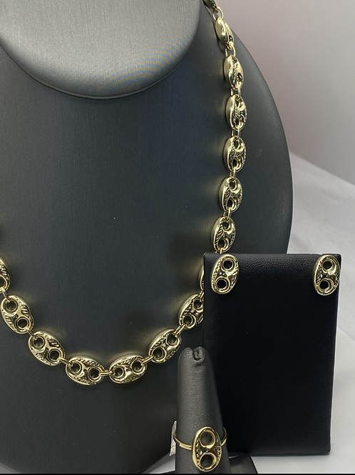 """18"""" Large Puff Link Set: Chain, Studs, Ring"""