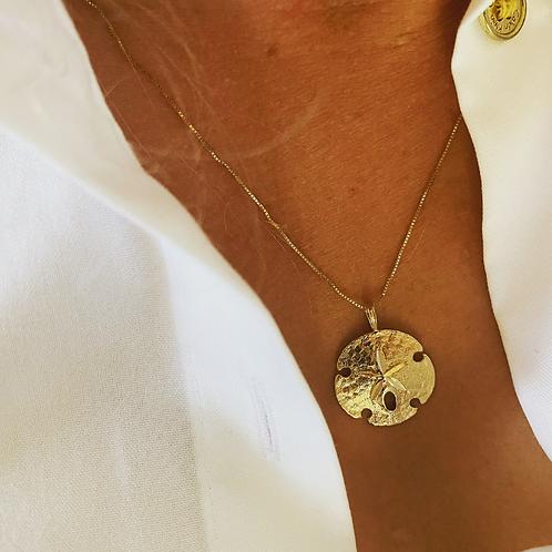 14k Large Sand Dollar Necklace