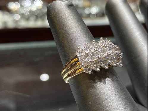 Diamond Pyramid Ring Yellow Gold
