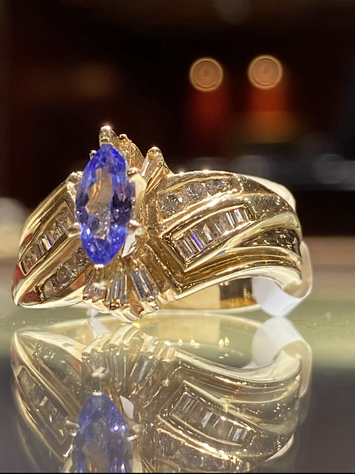 Marquise and Baguette Tanzanite Diamond Ring