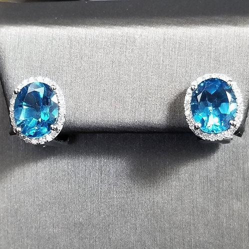 14K Blue Topaz French Back Studs with Diamonds
