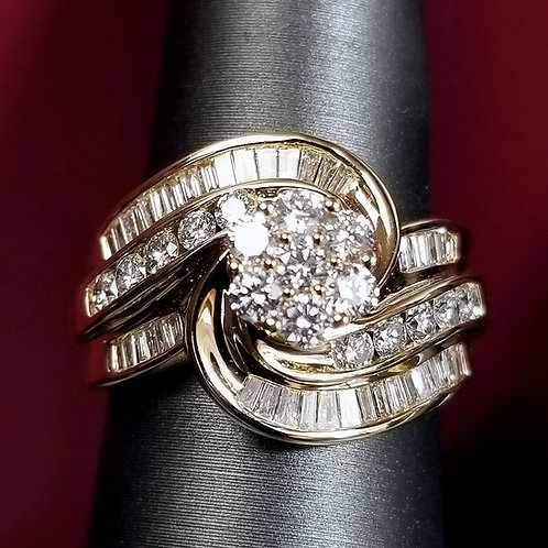 14K Gold Diamond Cocktail or Engagement Ring