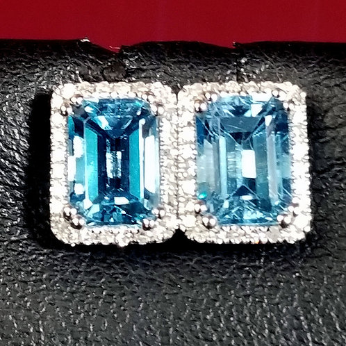 14K Gold BlueTopaz and Diamond Studs