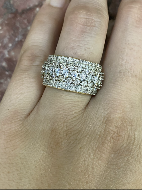 Multiple Diamond Row Wide 14k Band