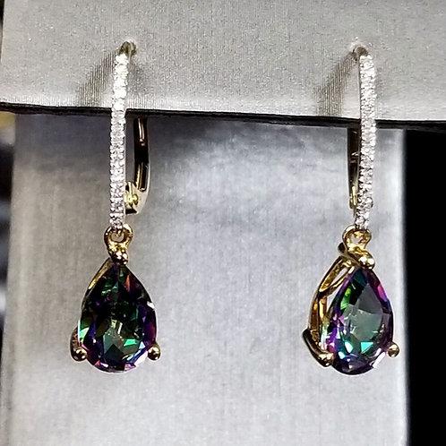 14K Gold Mystic Topaz Lever Back Earrings