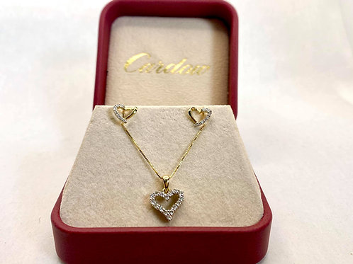 14KT Gold Heart Diamond Set