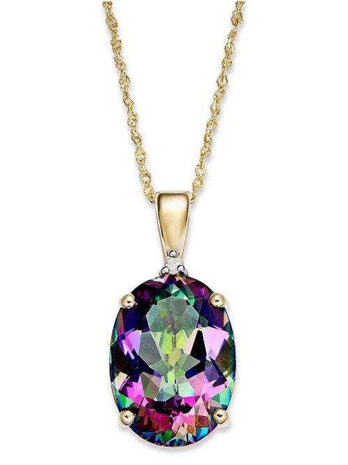 Mystic Topaz & Diamond Necklace
