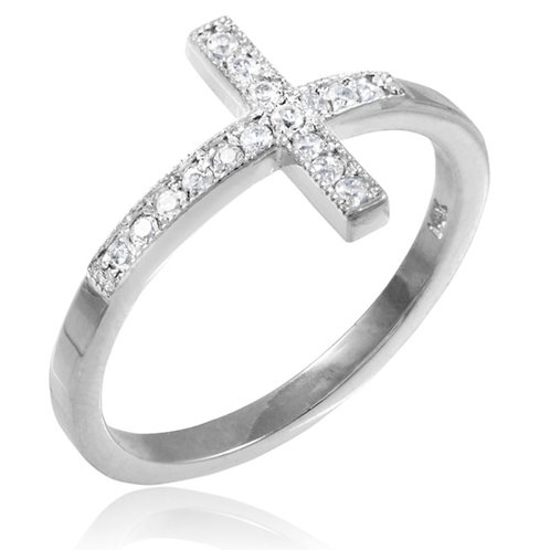14k Diamond Cross Ring