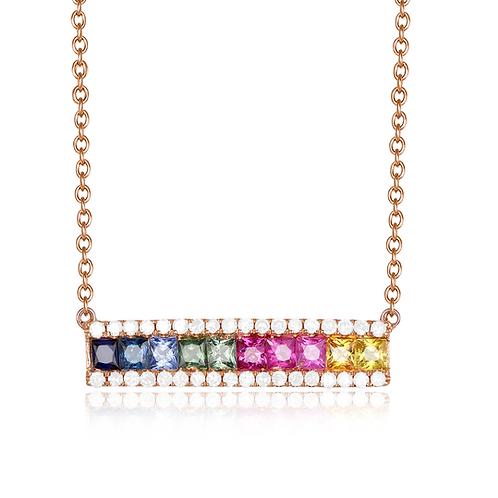 Rainbow Sapphire and Diamond Bar Necklace