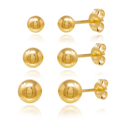 Gold Ball Stud Earings