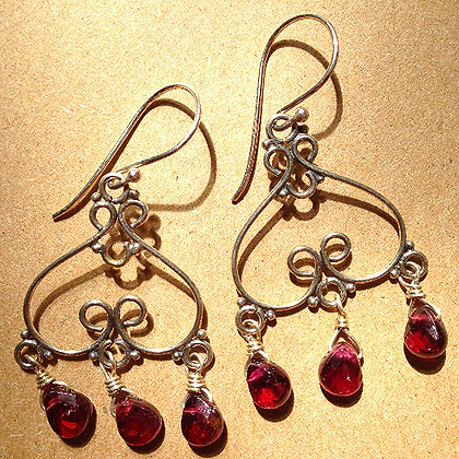 #1543  garnet earrings
