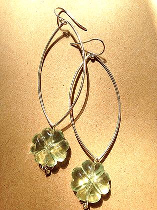 #1549  fluorite clover earrings