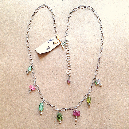 #1452 Tourmaline nugget necklace