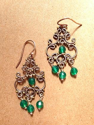 #1540  green onyx earrings