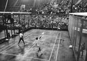 Old School black and white platform tennis photo