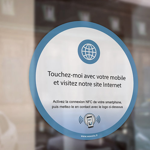 """Sticker """"Visitez notre site Internet"""" pour vitrine ou comptoir 8,89 cm"""