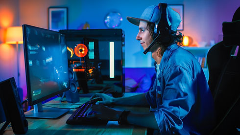 Professional Gamer Playing First-Person