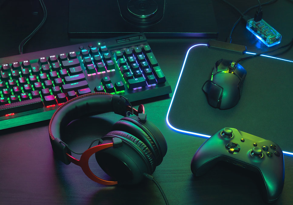 gamer work space concept, top view a gam