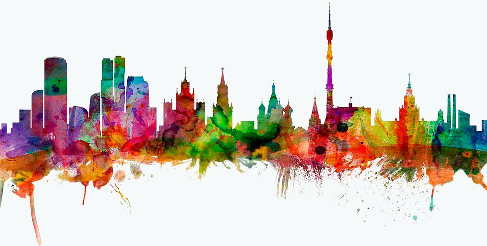 art-poster-moscow-russia-skyline-colored