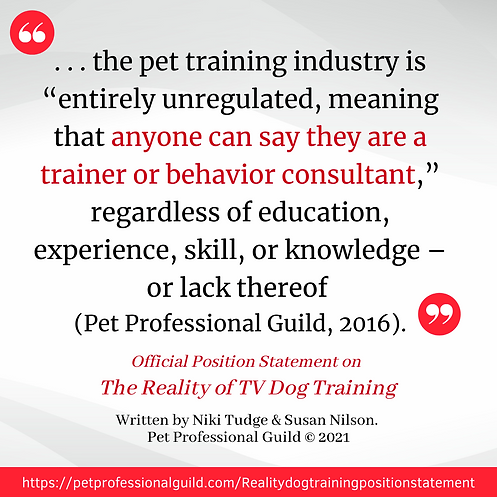 Punishment-based training methods may be advocated by those without an appreciation of the